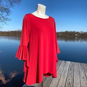 Alfani Red bell sleeve tunic top blouse